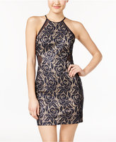 As U Wish Juniors' Sequin Lace Illusion Bodycon Dress