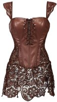 Aiuem Gothic PVC Leather Steampunk Skirt Steel Boned Waist slimming Corsets and Bustiers Plus Size Overbust Korse