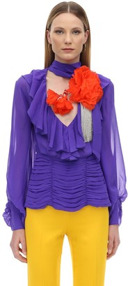 Marianna Senchina RUFFLED SILK SHIRT W/ FLOWER CRYSTAL