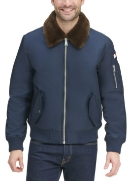 Tommy Hilfiger Men's Big & Tall Flight Bomber Jacket with Detachable Faux Fur Collar, Created for Macy's