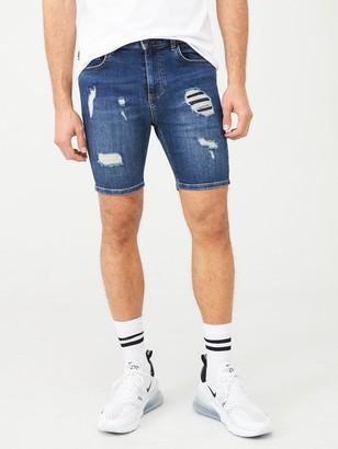 11 Degrees Rip & Repair Skinny Fit Denim Shorts - Blue