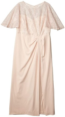 Adrianna Papell Plus Size Flutter Sleeve Gown (Light Blush) Women's Dress