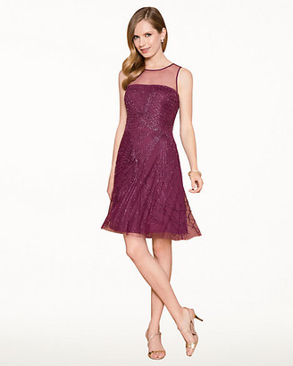 Le Château Beaded Mesh Fit & Flare Cocktail Dress