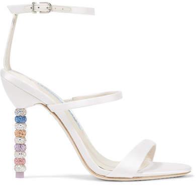 Sophia Webster Rosalind Crystal-embellished Satin Sandals - White