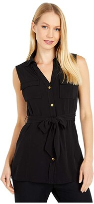 MICHAEL Michael Kors Mj Sleeveless Button Front Tunic (Black) Women's Clothing