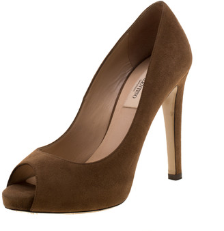 Valentino Brown Suede Peep Toe Pumps Size 36.5