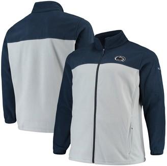 Men's Columbia Navy/Gray Penn State Nittany Lions Big & Tall Flanker III Fleece Full-Zip Jacket