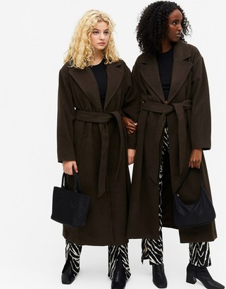 Monki Brix oversized coat with belt in brown