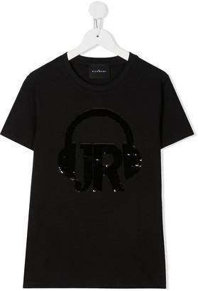 John Richmond Junior TEEN sequinned headphones T-shirt