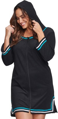 Plus Size Mazu Swim Black Hooded Terry Cloth Cover-Up