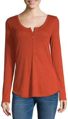 A.N.A Womens Long Sleeve Henley Shirt