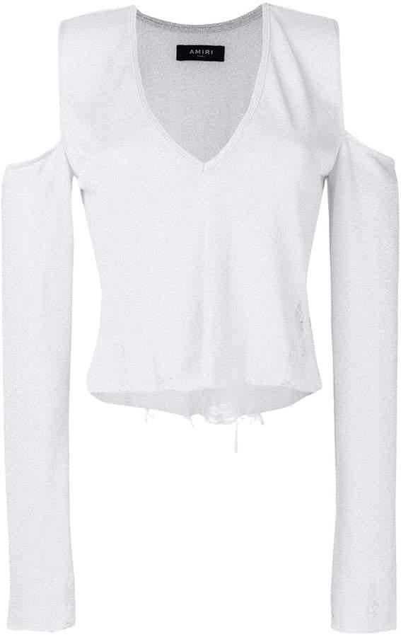 Amiri could-shoulder distressed blouse