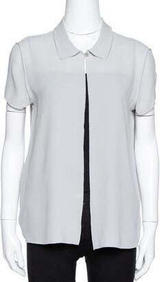 Giorgio Armani Grey Silk Crepe Open Front Blouse M