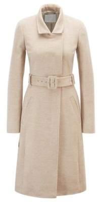 BOSS Belted coat in Italian virgin wool with high collar