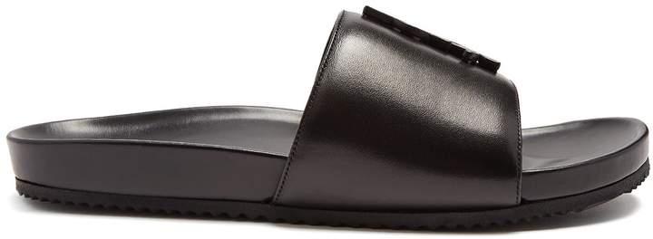 Saint Laurent Joan logo leather slides