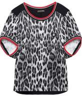 Roberto Cavalli Paneled Printed Stretch-Knit Top