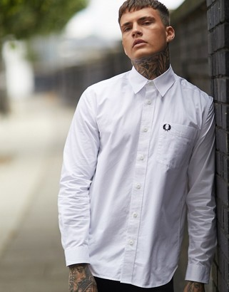 Fred Perry poplin shirt with pocket in white