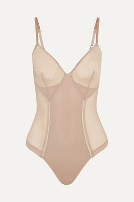 Spanx Haute Contour Nouveau Stretch-mesh Thong Bodysuit - Neutral