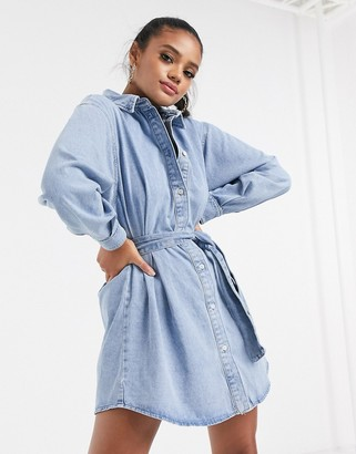 ASOS DESIGN denim cinched in belted shirt dress in midwash blue