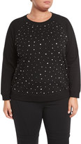 MICHAEL Michael Kors Rhinestone-Embellished Top, Black, Plus Size