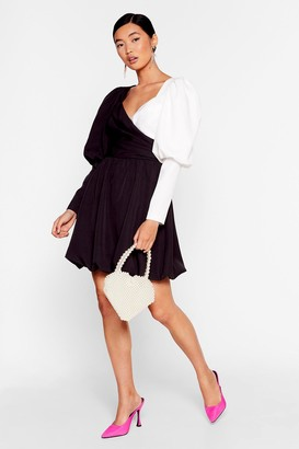 Nasty Gal Womens Struttin' Our Puff Sleeve Wrap Dress - Black