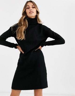 Vero Moda knitted roll neck mini dress in black