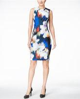 Calvin Klein Petite Blurred Floral-Print Scuba Sheath Dress