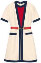Gucci Belted wool silk dress