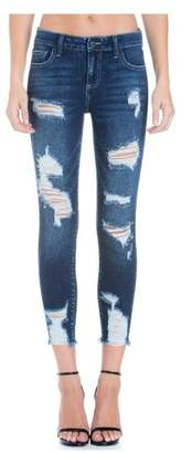 Cello Jeans Mid Rise Heavy Destroy Crop Skinny