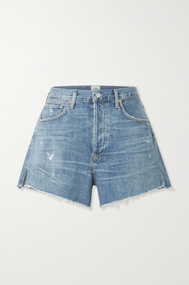 Citizens of Humanity - + Net Sustain Marlow Distressed Organic Denim Shorts - Blue