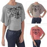 ADI Designs Junior's Butterfly-sleeve Graphic Print Tee