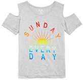 Flowers by Zoe Girls' Sunday Every Day Cold Shoulder Tee - Big Kid