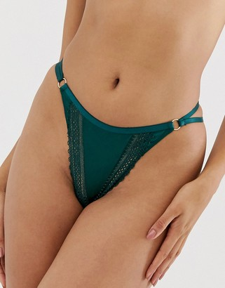 Asos Design DESIGN Clio thong with satin & lace trim-Green