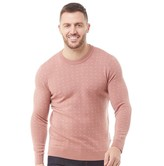 Ted Baker Mens Crazy Geo Jacquard Wool Blend Crew Neck Jumper Dusky Pink