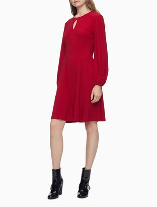 Calvin Klein Solid Keyhole Front Long Sleeve Shift Dress