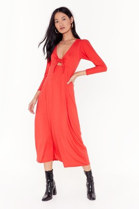Nasty Gal Womens Shout Cut-Out to My Ex Tie Midi Dress - Red - 8