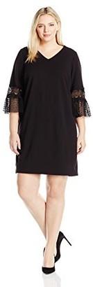 Julia Jordan Women's Plus Size 3/4 Sheath with Crochet Sleeve