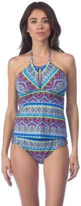 La Blanca Women's Front Keyhole High Neck Tankini Swimsuit Top