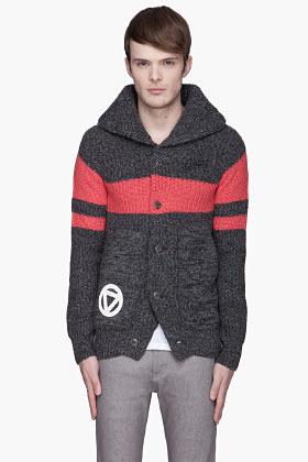 G Star G-STAR Grey thick knit Striped Cardigan
