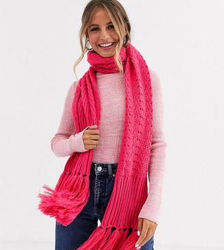 Stitch & Pieces Exclusive bright pink fringe tassle scarf