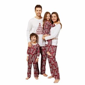 Yaffi Family Matching Pajamas Set Festival Outfits Christmas Joy Love Peace Believe Christmas Letter Print Two Pieces Pjs Loungewear Women: M White