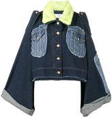 Natasha Zinko mink fur collar patchwork denim jacket - women - Cotton/Mink Fur - 36
