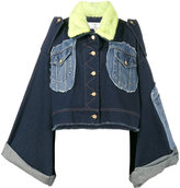 Natasha Zinko mink fur collar patchwork denim jacket