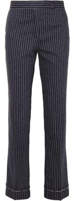 Golden Goose Pinstriped Wool And Silk-blend Straight-leg Pants