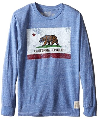 The Original Retro Brand Kids Long Sleeve Tri-Blend California Flag Tee (Big Kids) (Streaky Royal) Boy's T Shirt