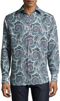 Etro Paisley-Print Button-Down Shirt, Gray