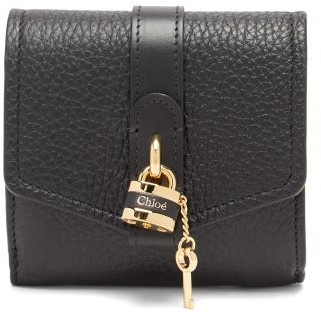 Chloé Aby Small Grained-leather Wallet - Womens - Black