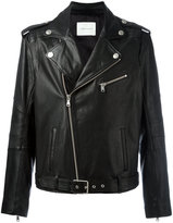 Pierre Balmain zipped biker jacket - men - Cotton/Calf Leather/Viscose - 48