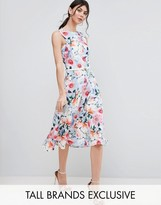 Paper Dolls Tall Floral Printed Midi Prom Dress With Bow Belt Detail