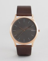 Skagen SKW6330 Jorn Leather Watch In Black 40mm